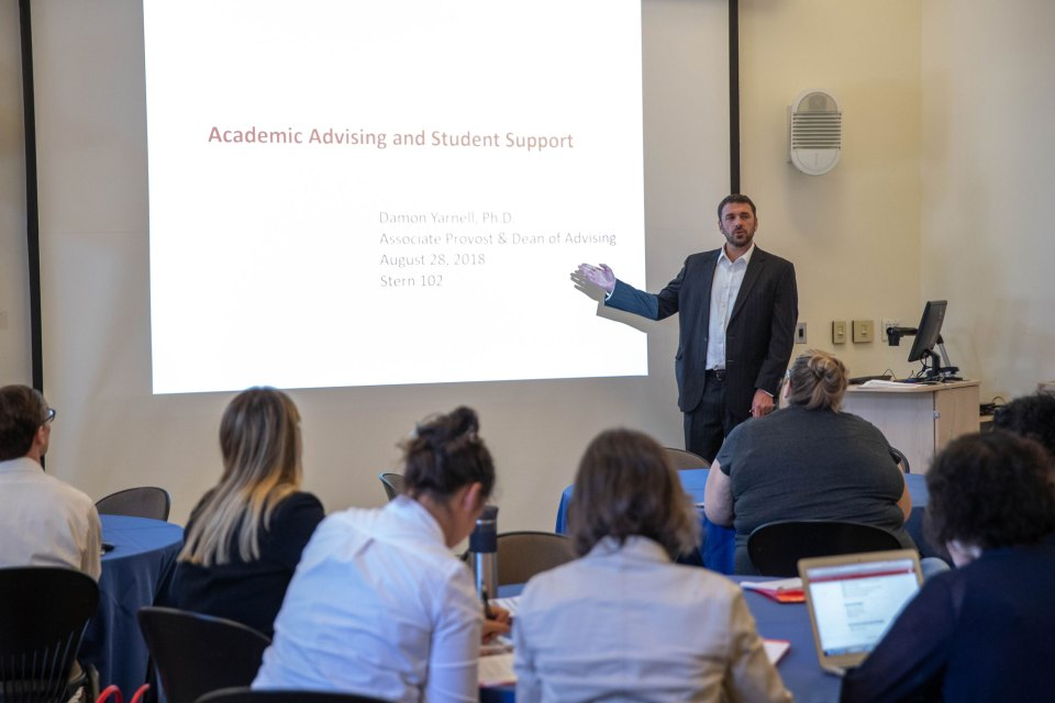 "Damon Yarnell, dean of academic advising at Dickinson College, leads a training session for new faculty about how to help students who might be foundering. ""This shouldn't be news,"" Yarnell says."