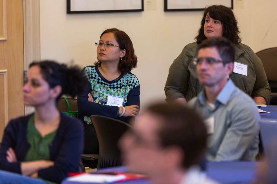 New faculty at Dickinson College attend a training session about how to help students who might be foundering. Faculty are required to flag any problems by specified dates during each semester.