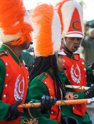 Drum majors Cyncere Joseph and Tyson Brown, both A students, lead the Carver band in the Femme Fatale parade.