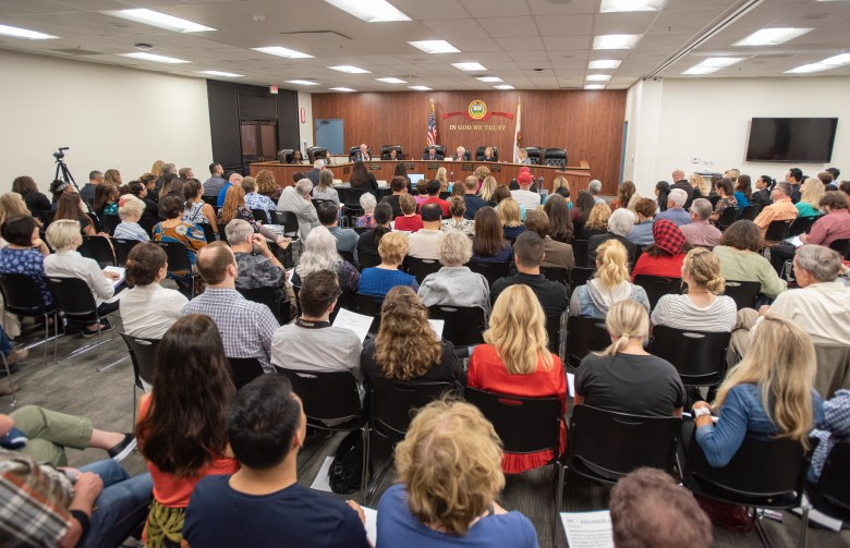 A packed boardroom in Costa Mesa, Calif., at a 2018  town hall meeting to discuss the state's sex education law. Last year, a petition opposing a Washington bill received the most signatures in 40 years. The measure, which was upheld in a referendum, requires every grade level to receive some kind of sex education.