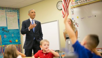 President Barack Obama visits first grade students at Gen. Clarence Tinker elementary school at MacDill Air Force Base, Fla., Wednesday, Sept. 17, 2014. (AP Photo/Pablo Martinez Monsivais)