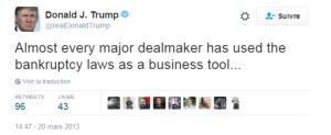 Tweet de Donald J. Trump le 20 mars 2013 « Tout homme d'affaire qui se respecte a déjà utilisé la loi sur la faillite comme un outil dans ses affaires »