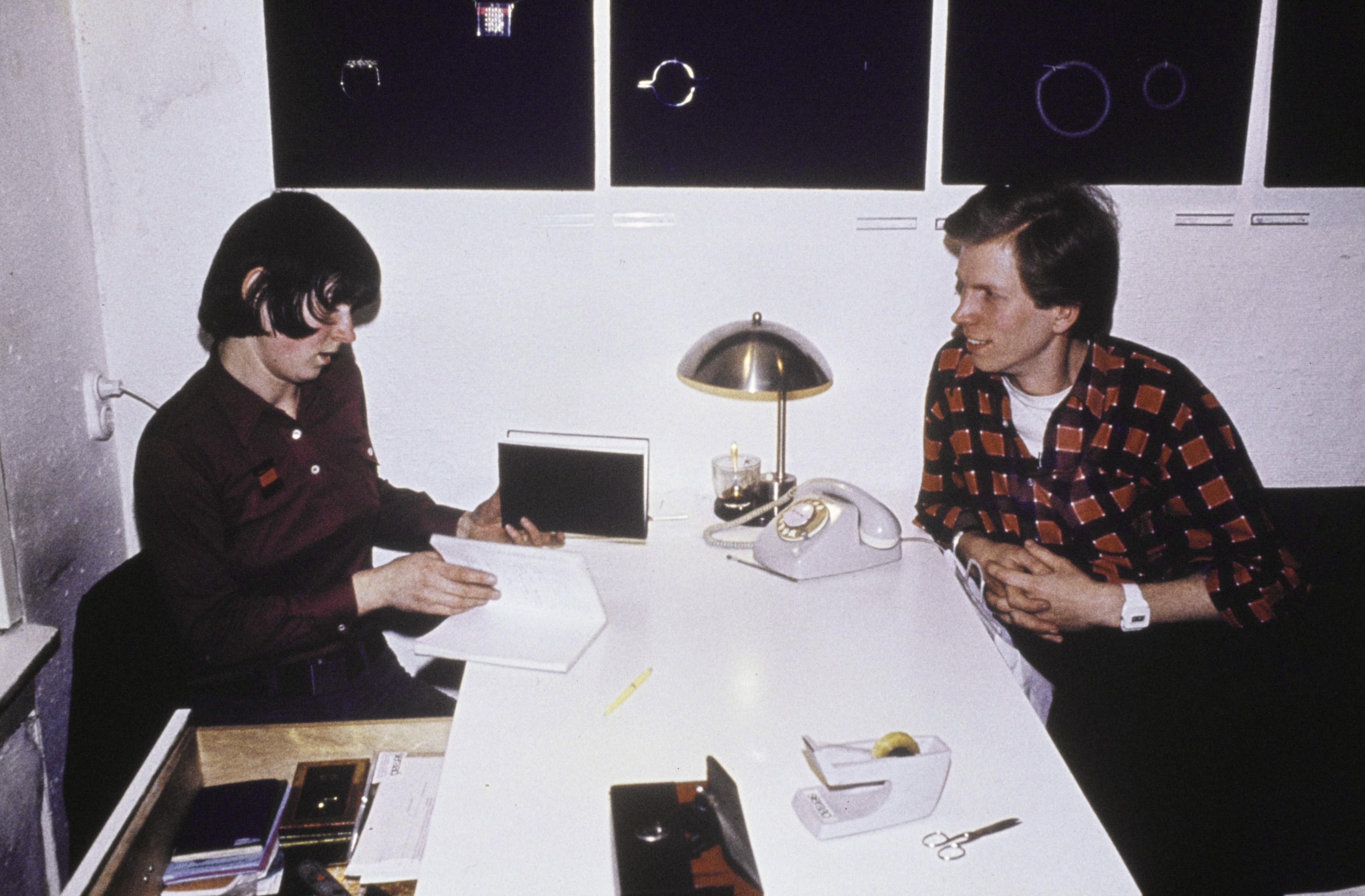 Lous Martin en Hans Appenzeller aan het werk, 1975, portret