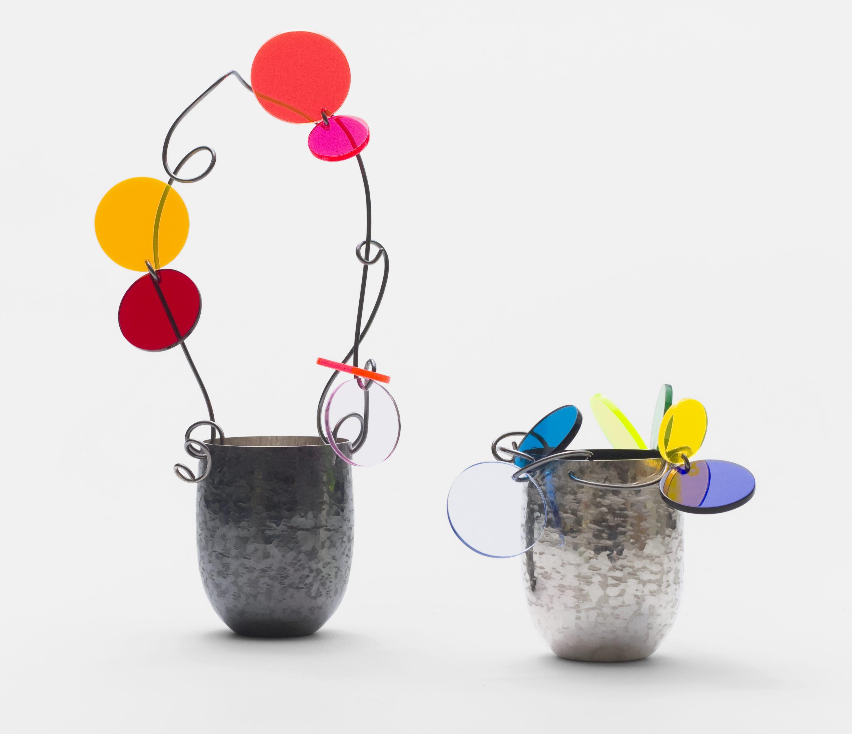 Paul Derrez, Confettivessels , Nederlands Zilvermuseum Schoonhoven, zilver, perspex