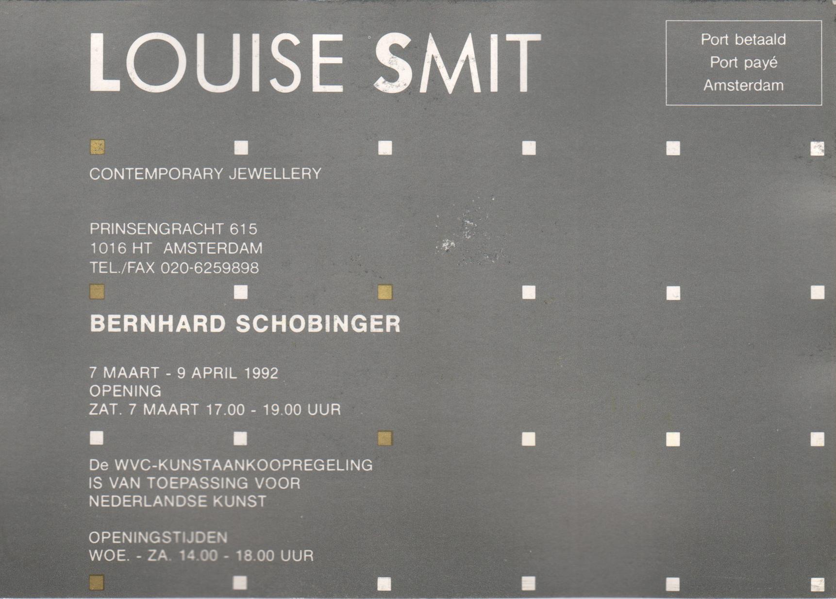 Uitnodiging opening Bernhard Schobinger, 7 maart 1992, drukwerk