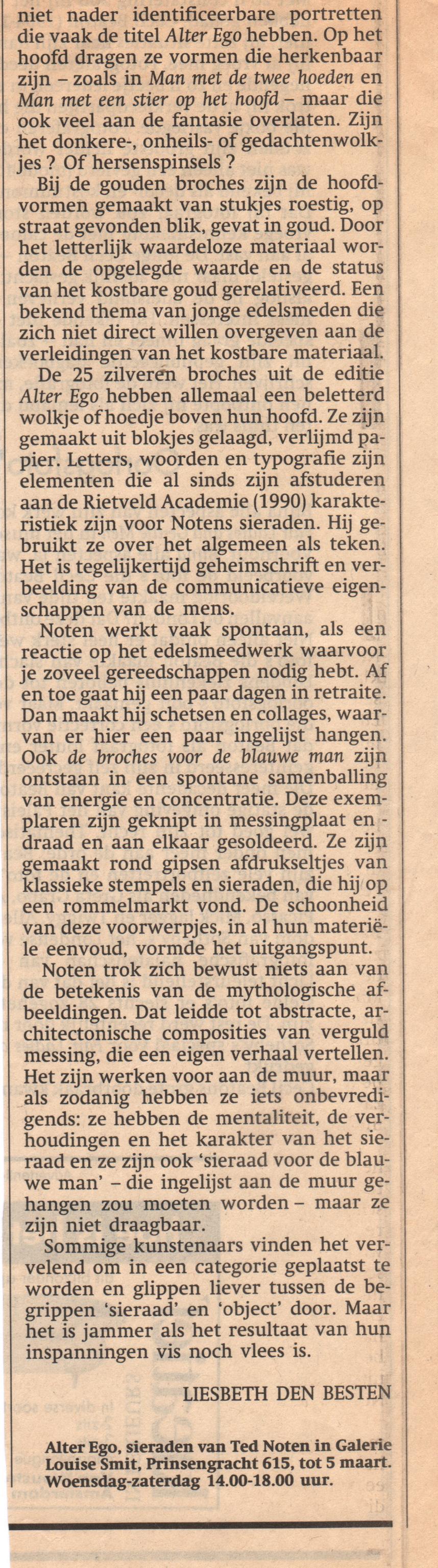 Recensie Liesbeth den Besten in Het Parool, 15 februari 1994, Alter Ego, Ted Noten, Galerie Louise Smit, drukwerk, krant