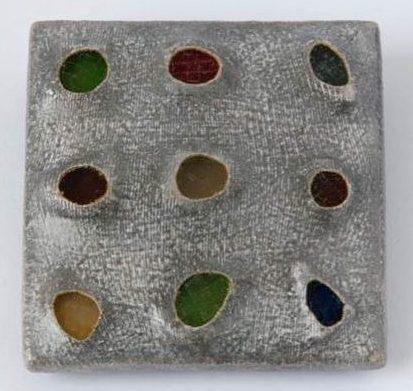 Beppe Kessler, Glass brooch, broche, 1996, canvas, verf, metaal