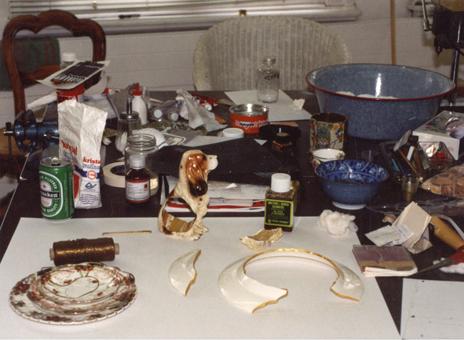 Mecky van den Brink, atelier, 1993. Foto met dank aan Mecky van den Brink©