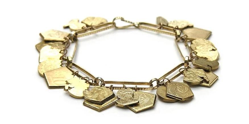 Christopher Thompson Royds, European Charms, armband, 2012, euromunten, metaal