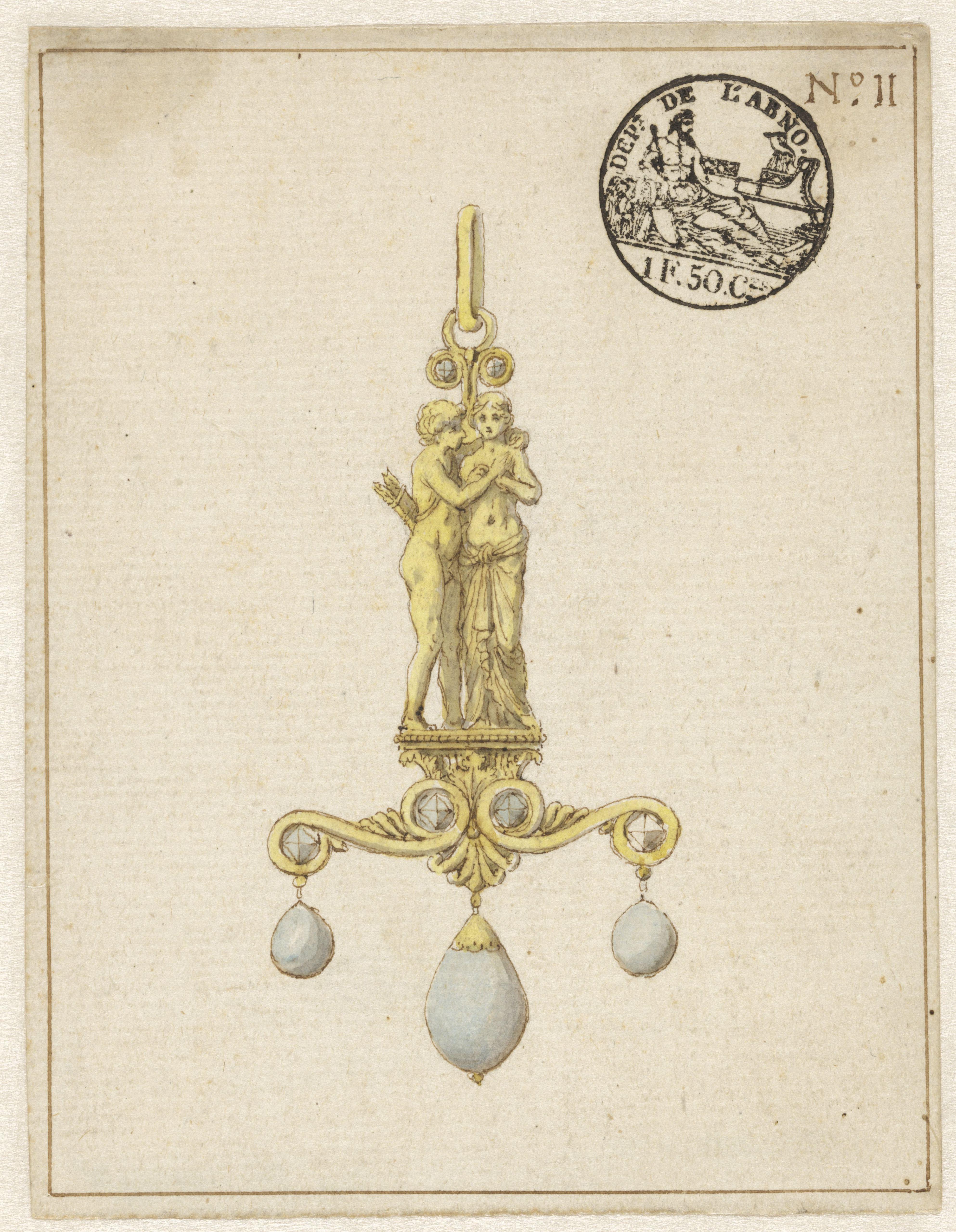 Tekening met ontwerp voor een hanger, circa 1810. Collectie Rijksmuseum, RP-T-2016-2-10, publiek domein (CC0 1.0)