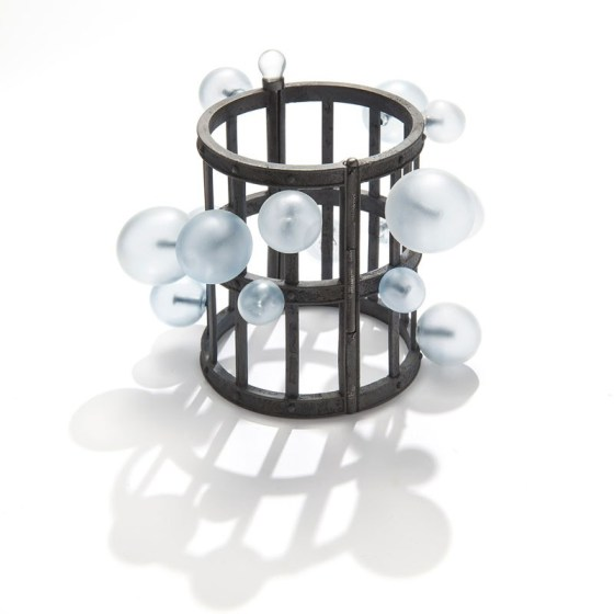 Evert Nijland, Bubble, armband, 2018, zilver, glas