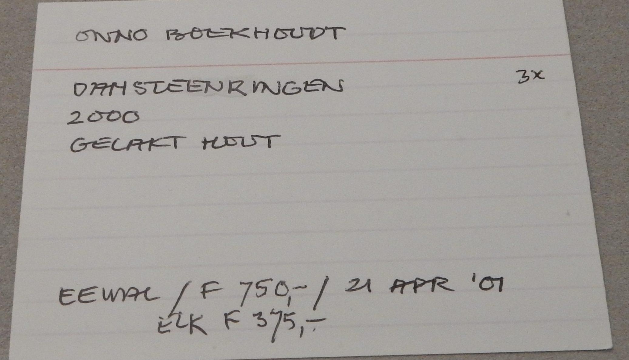 Inventariskaart Jurriaan van den Berg bij Onno Boekhoudt, ringen, 2000. De verzameling van Jurriaan van den Berg in CODA, 2018, papier, handschrift, tentoonstelling, vitrine