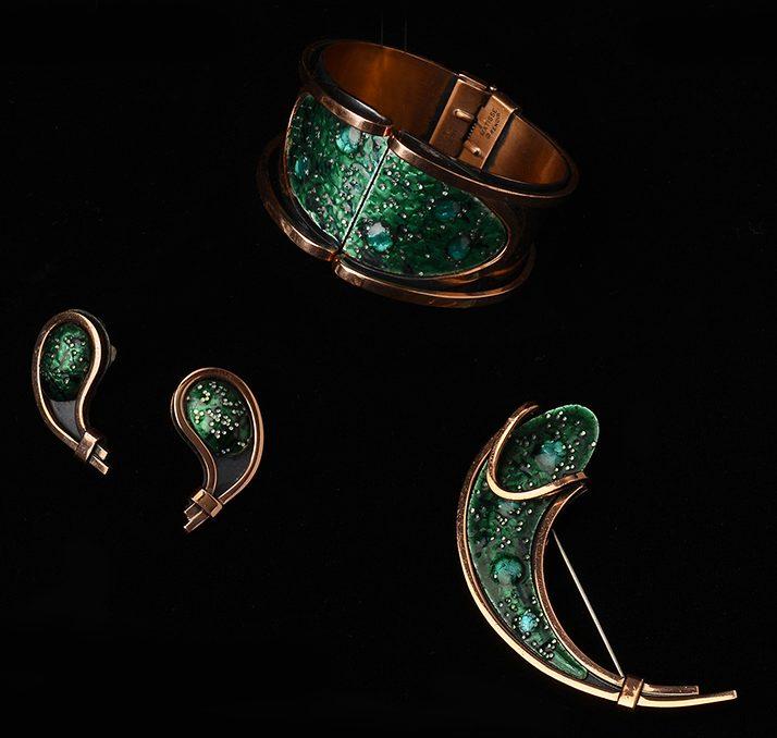 Armband, oorsieraden en broche, 1950-1955. Foto met dank aan Museo del Gioiello©