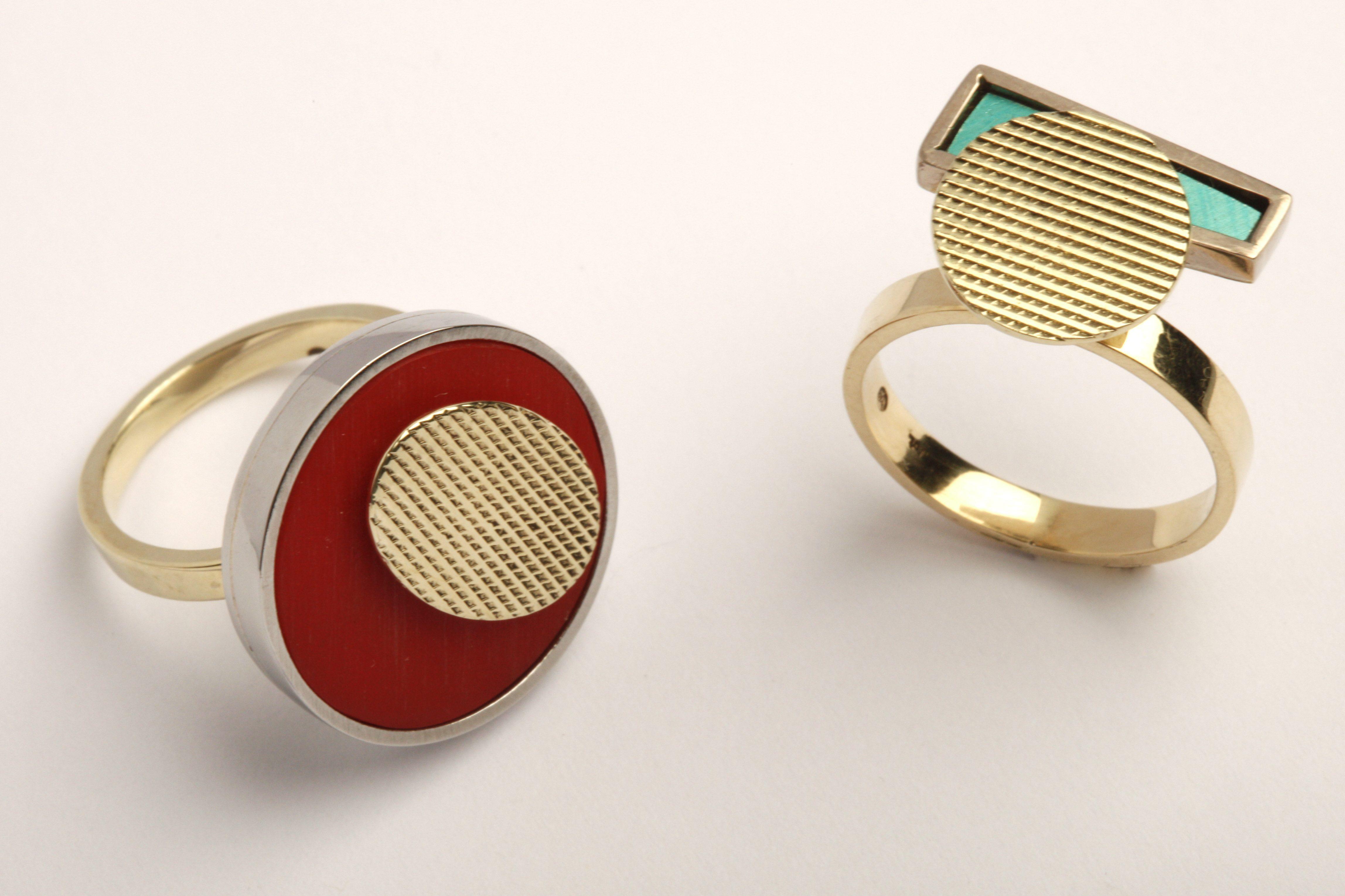 Karel Betman, ringen, goud, zilver, roestvrij staal, acryl