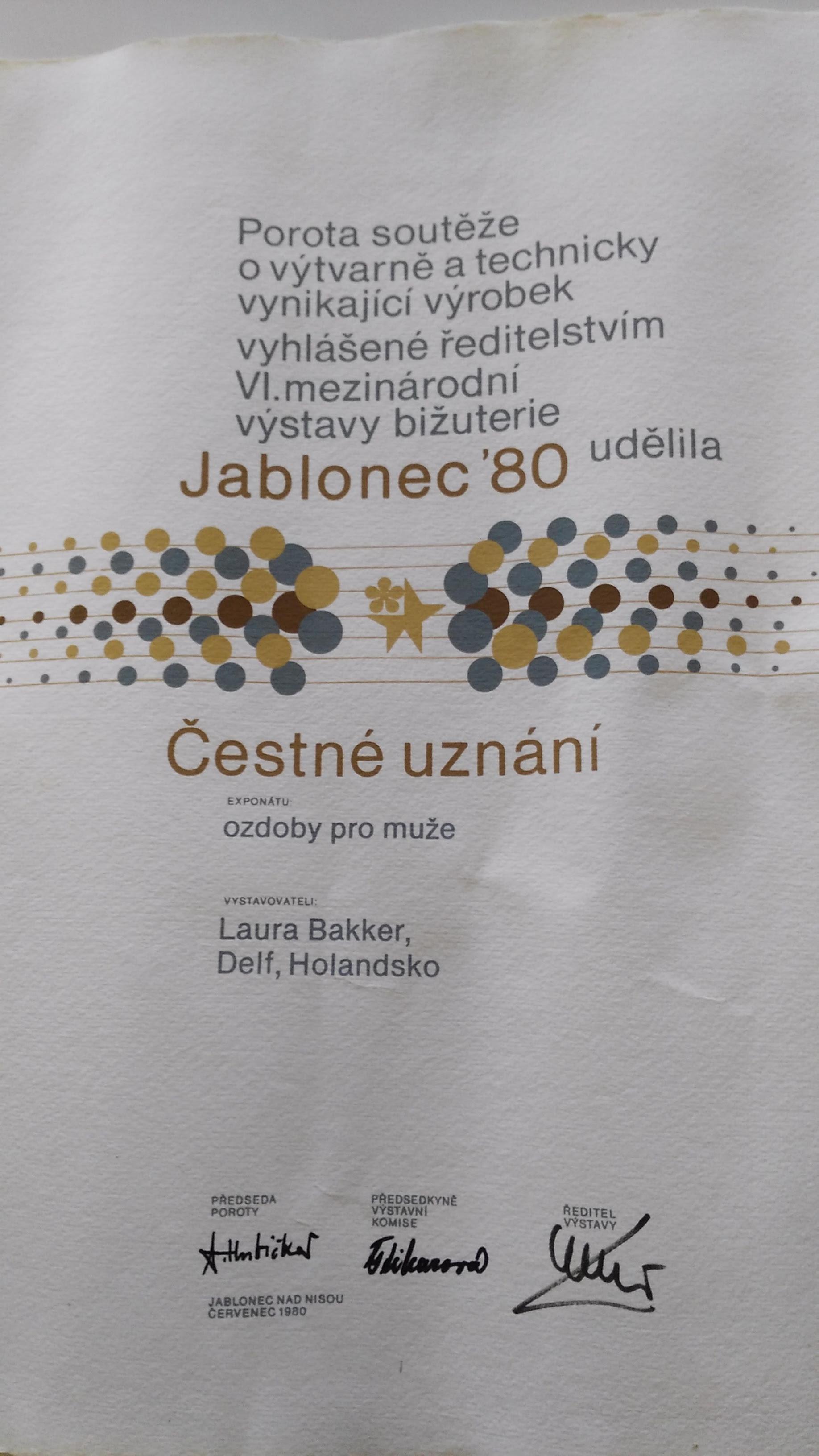 Prijs Jablonec 1980, drukwerk, papier, handschrift