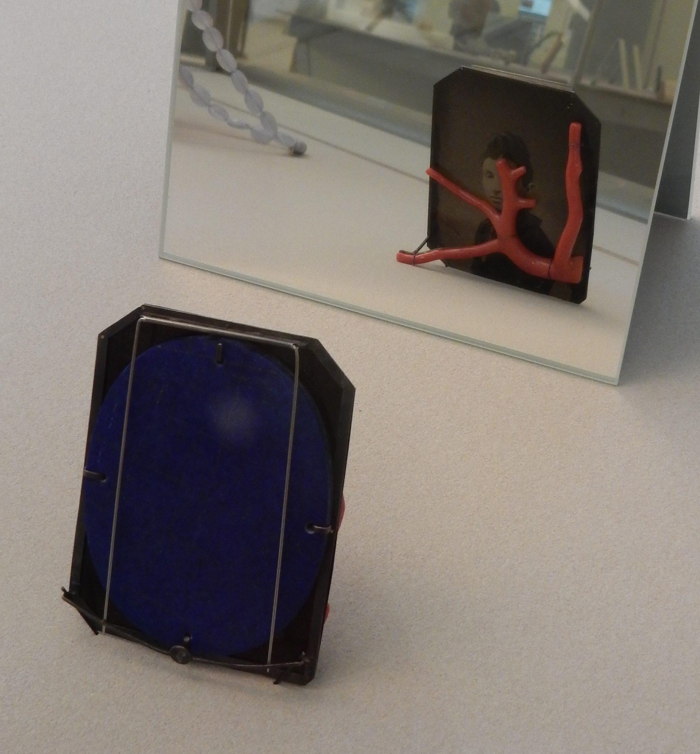 Bettina Speckner, broche, 2013. Collectie CODA, CO04389, tentoonstelling, vitrine, metaal, koraal