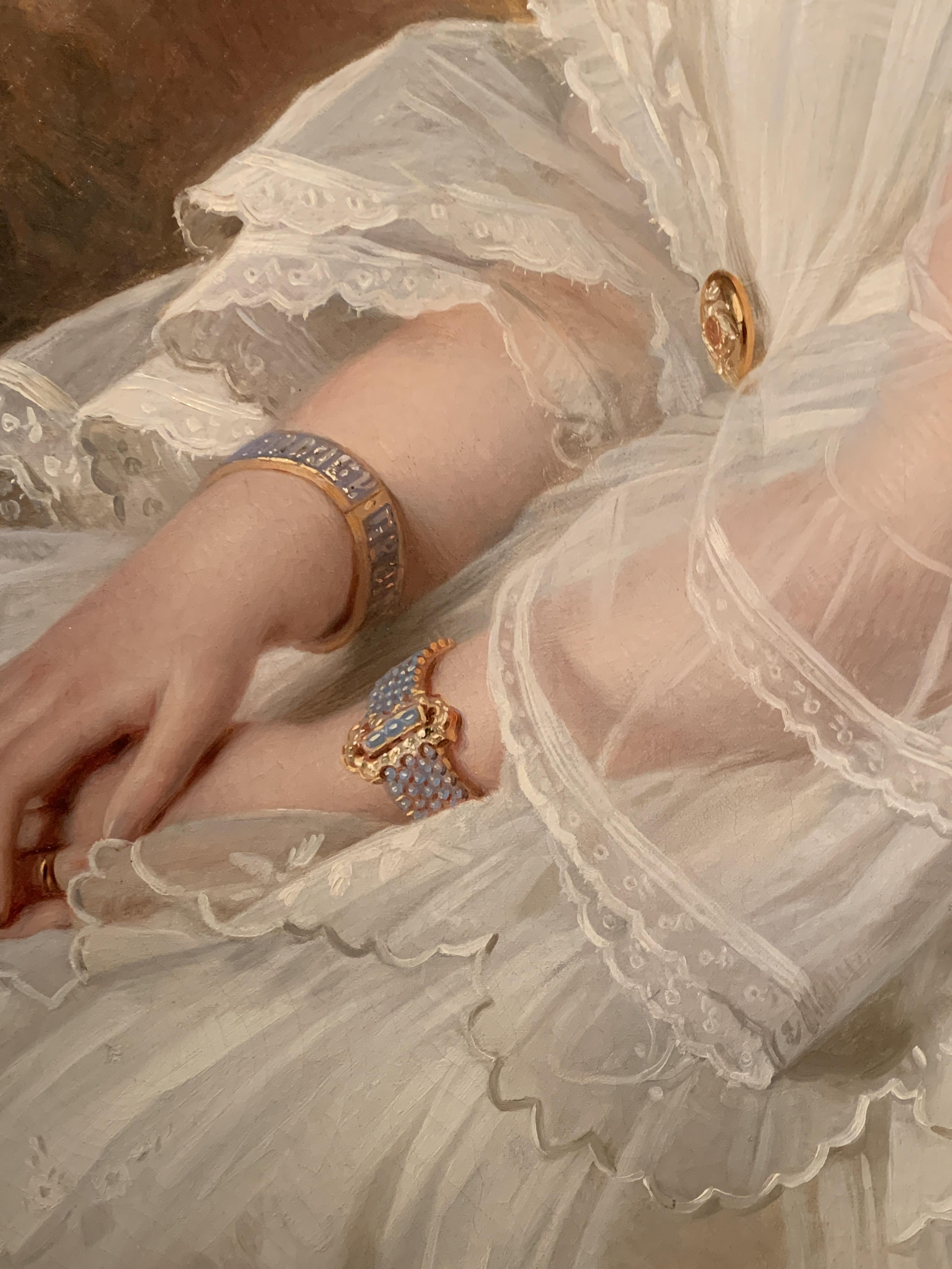 Juwelen! Hermitage Amsterdam, 2019. Richard Lauchert, Olga Fjodorovna, schilderij, 1857, detail. Foto met dank aan SAF, Astrid Berens©