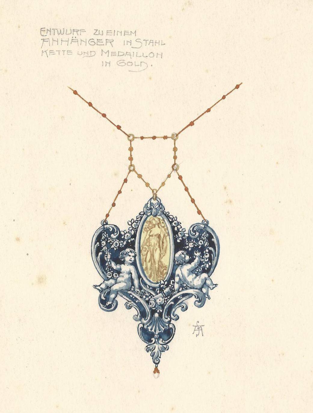 F. Anders, ontwerp voor een hanger, tekening. Foto met dank aan Grafische Sammlung Stern©