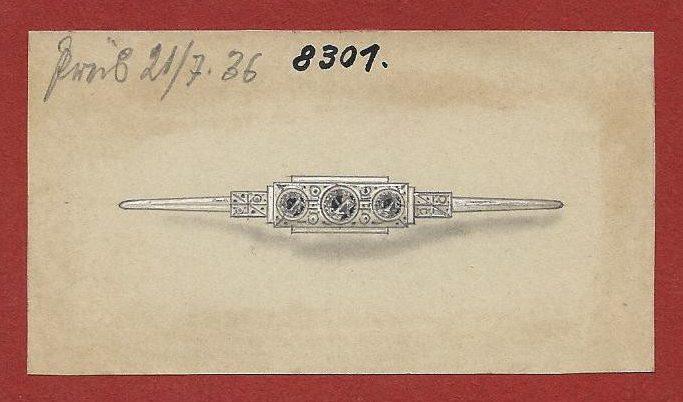 Cheva, ontwerptekening broche, 1936. Foto met dank aan Grafische Sammlung Stern©