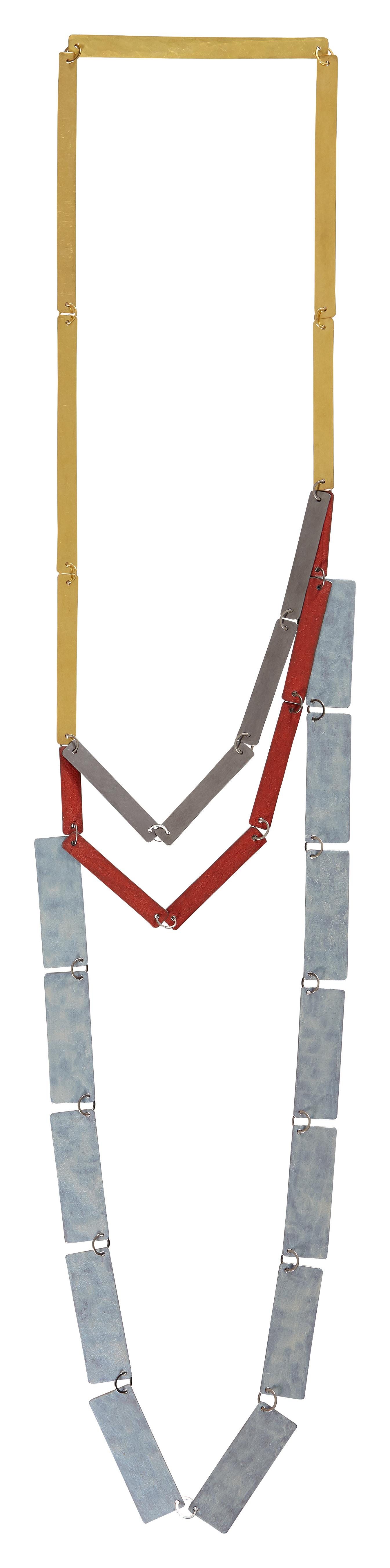 Annelies Planteijdt, Mooie stad, rode blauwe kamers, fase 2, halssieraad, 2001, goud, metaal, email