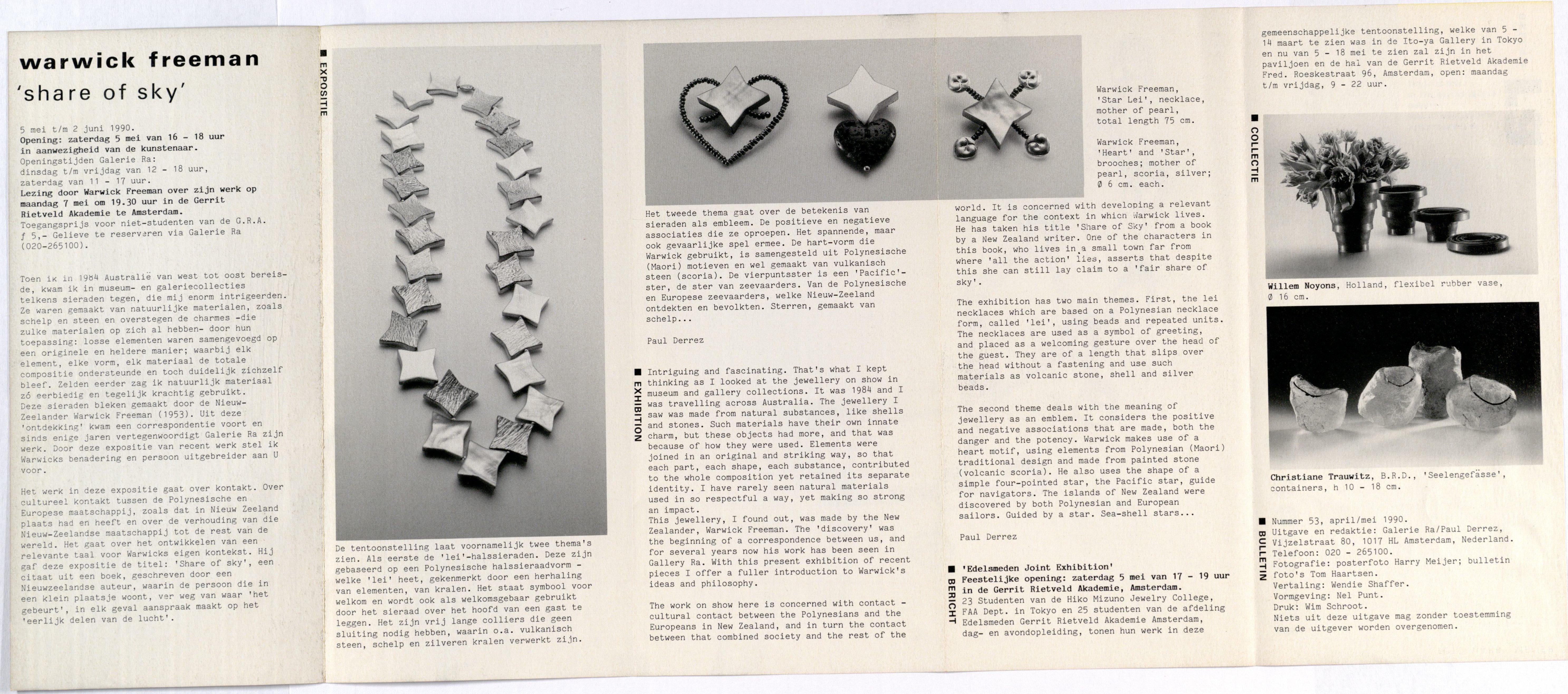 Ra Bulletin 53, april/mei 1990, achterzijde met tekst en foto's van Tom Haartsen, Qarwick Freeman, Willem Noyons, Christiane Trauwitz, parelmoer, broches, halssieraad