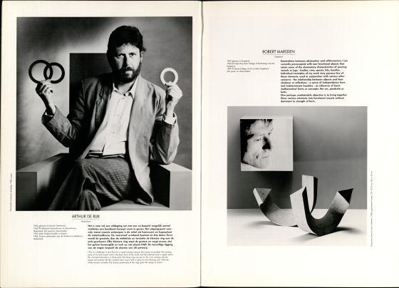 10 Jaar Ra, bladzijde 6 en 7, Arthur de Rijk en Robert Marsden, 1986, foto Anna Beeke, Galerie Ra, foto Anna Beeke©, portret, armband, drukwerk, papier