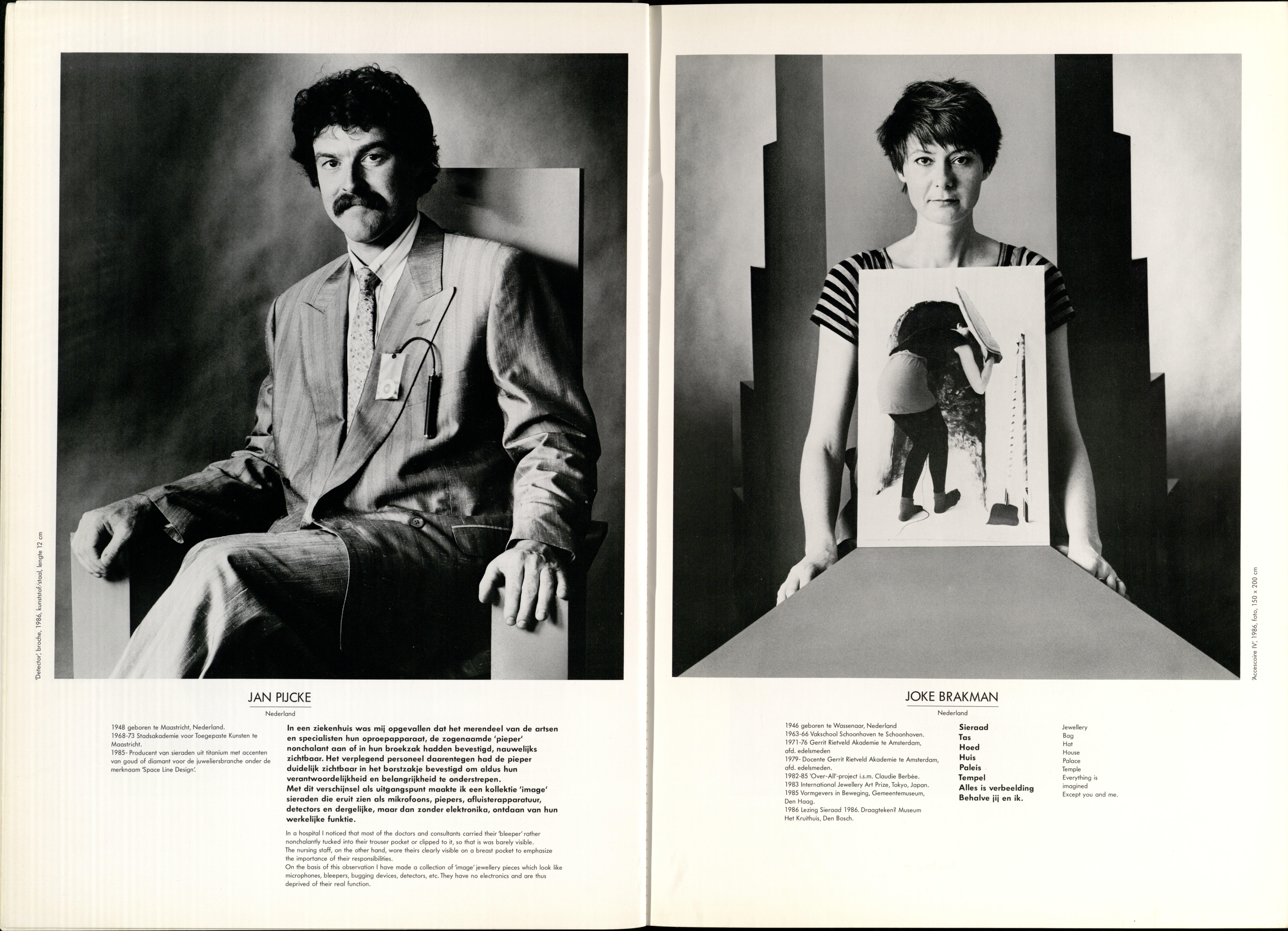 10 Jaar Ra, bladzijde 8 en 9, Jan Pijcke en Joke Brakman, 1986, foto's Anna Beeke, portret, broche, drukwerk, papier