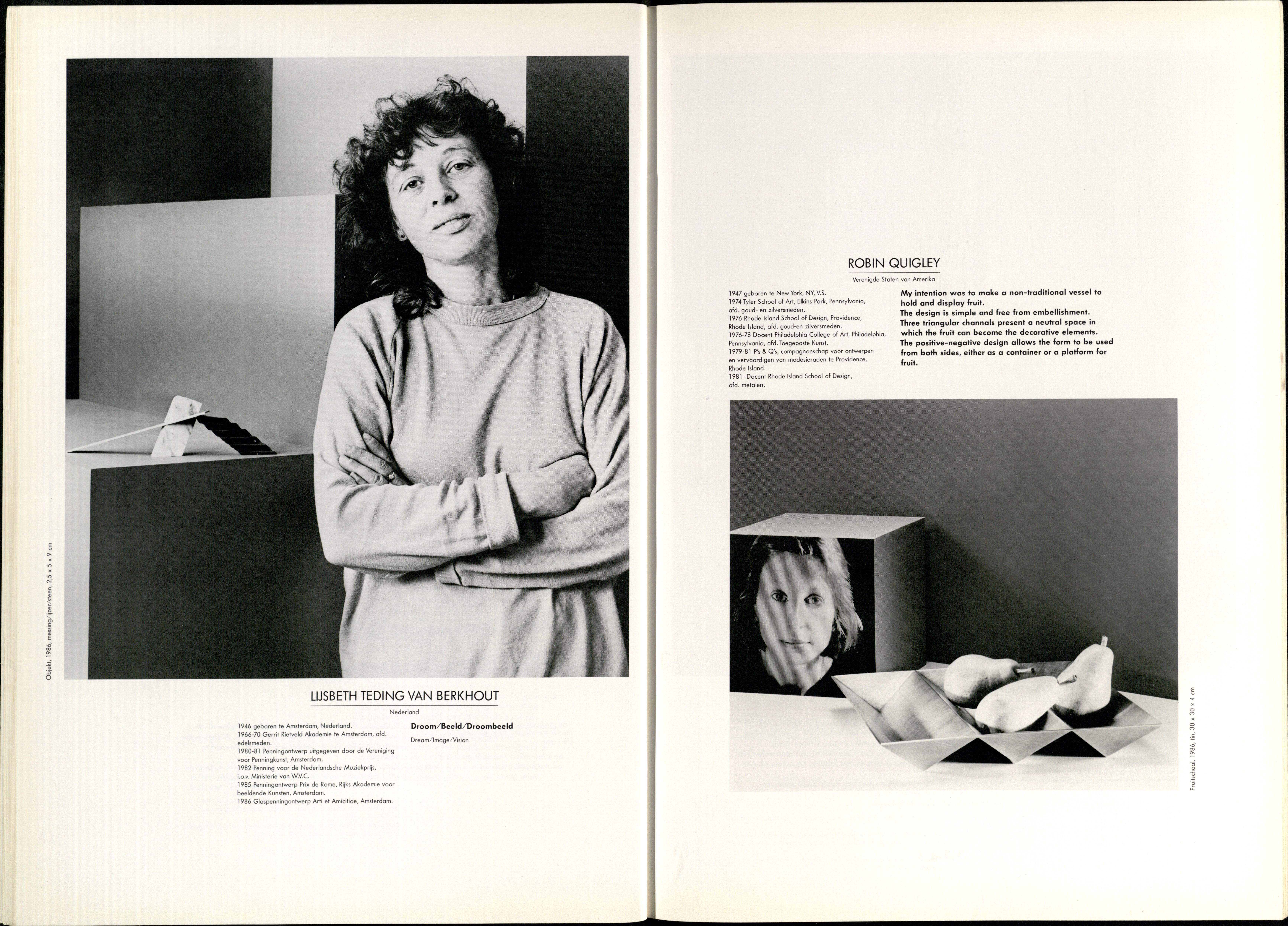10 Jaar Ra, bladzijde 28 en 29, Lijsbeth Teding van Berkhout en Robin Quigley, 1986, foto's Anna Beeke, drukwerk, papier, portret,