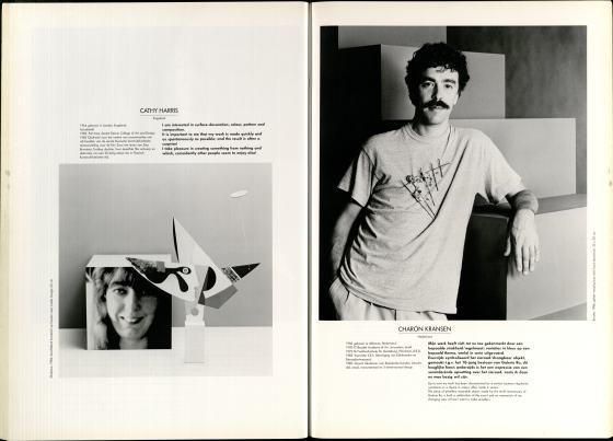10 Jaar Ra, bladzijde 52 en 53, Cathy Harris en Charon Kransen, 1986, foto's Anna Beeke, portret, broche, drukwerk, papier, messing, lood, zink, aluminium