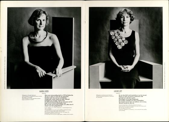 10 Jaar Ra, bladzijde 70 en 71, Maria Hees en Janke IJff, 1986, foto's Anna Beeke, portret, drukwerk, papier, berkenhout, halssieraad, goud, verf, touw, denne-appels