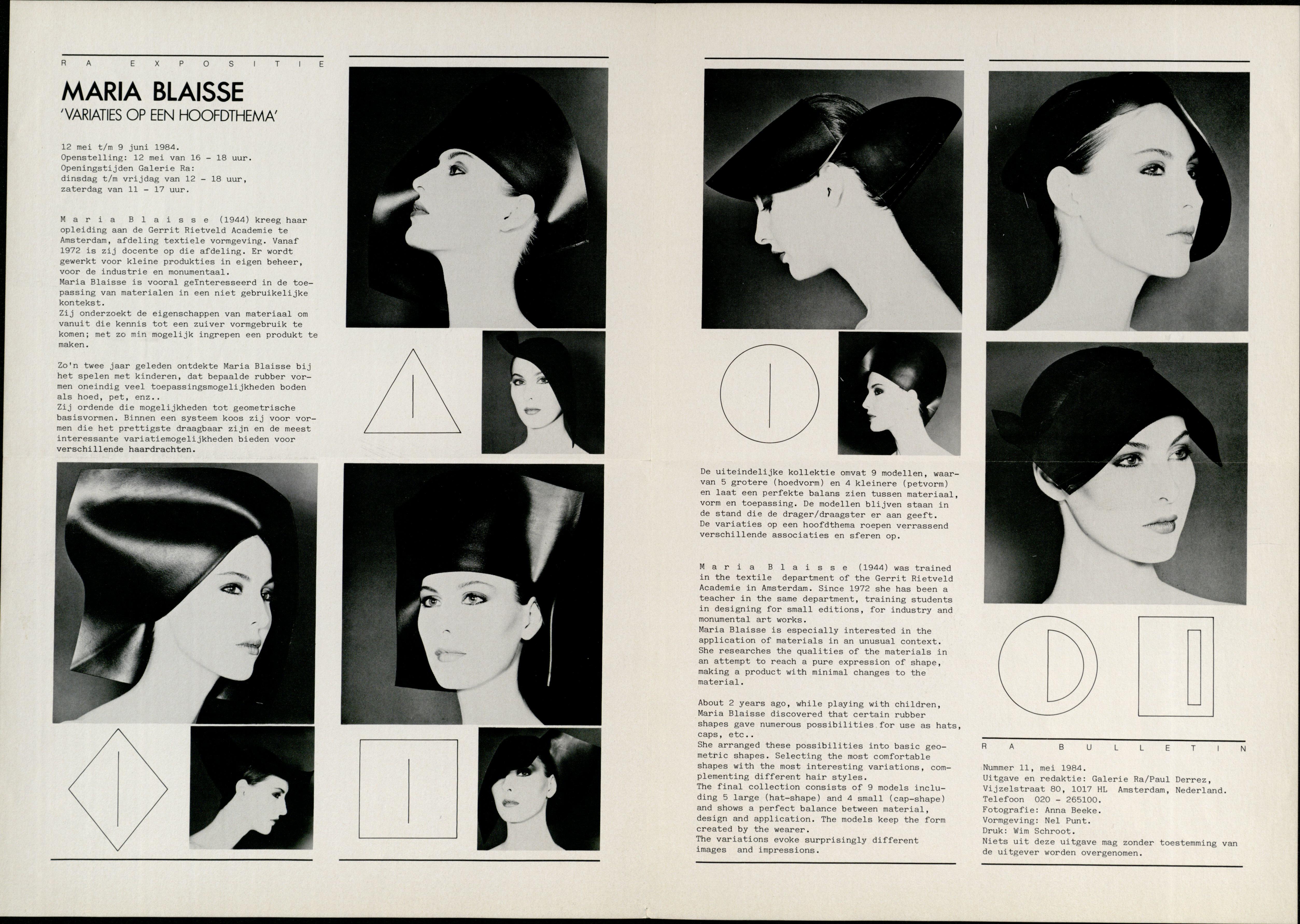 Ra Bulletin 11, mei 1984, achterzijde met tekst en foto's van Anna Beeke, Maria Blaisse, hoofddeksels