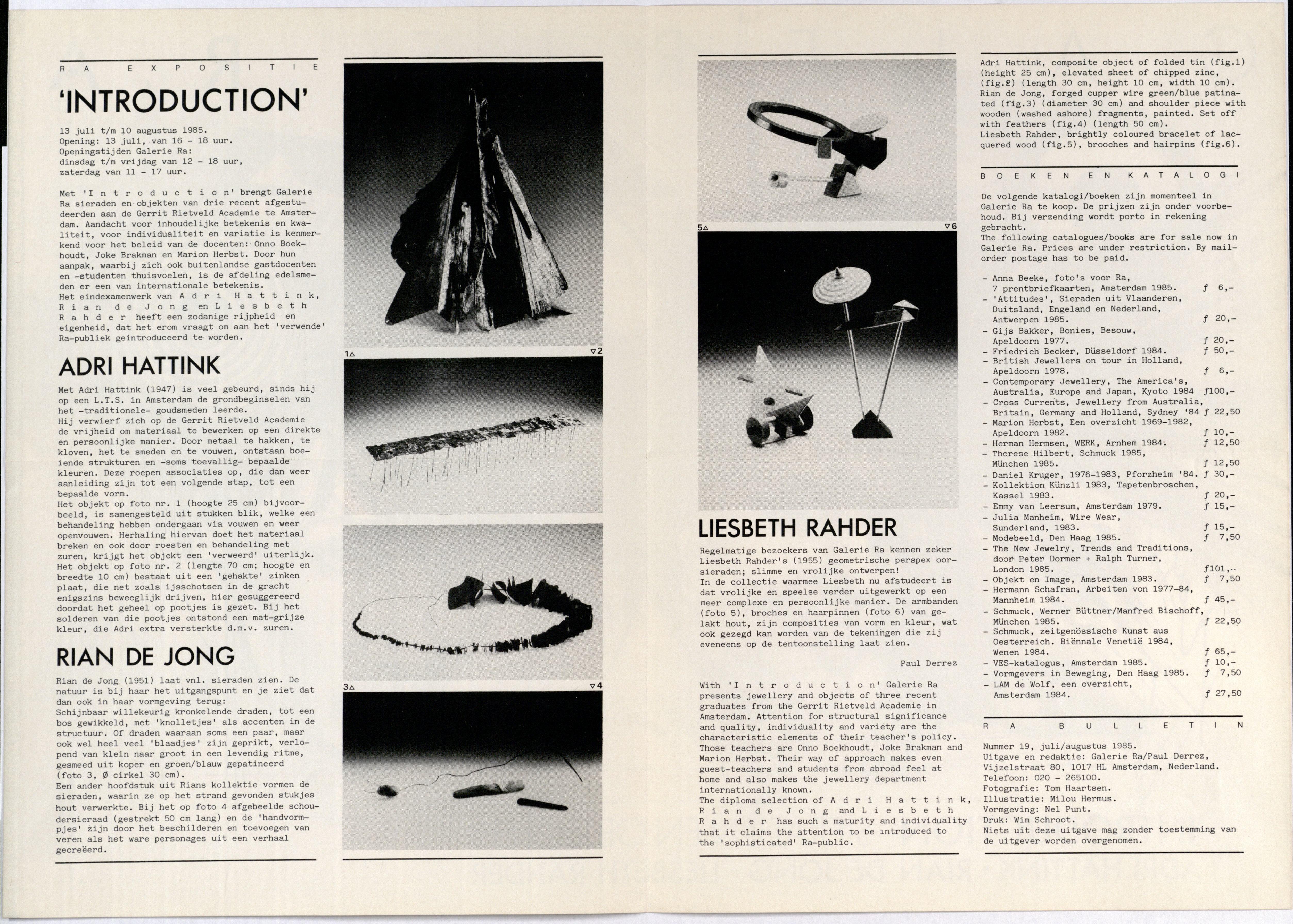 Ra Bulletin 19, juli/augustus 1985, achterzijde met tekst en foto's van Tom Haartsen, drukwerk, papier, Adri Hattink, Rian de Jong, Liesbeth Rahder