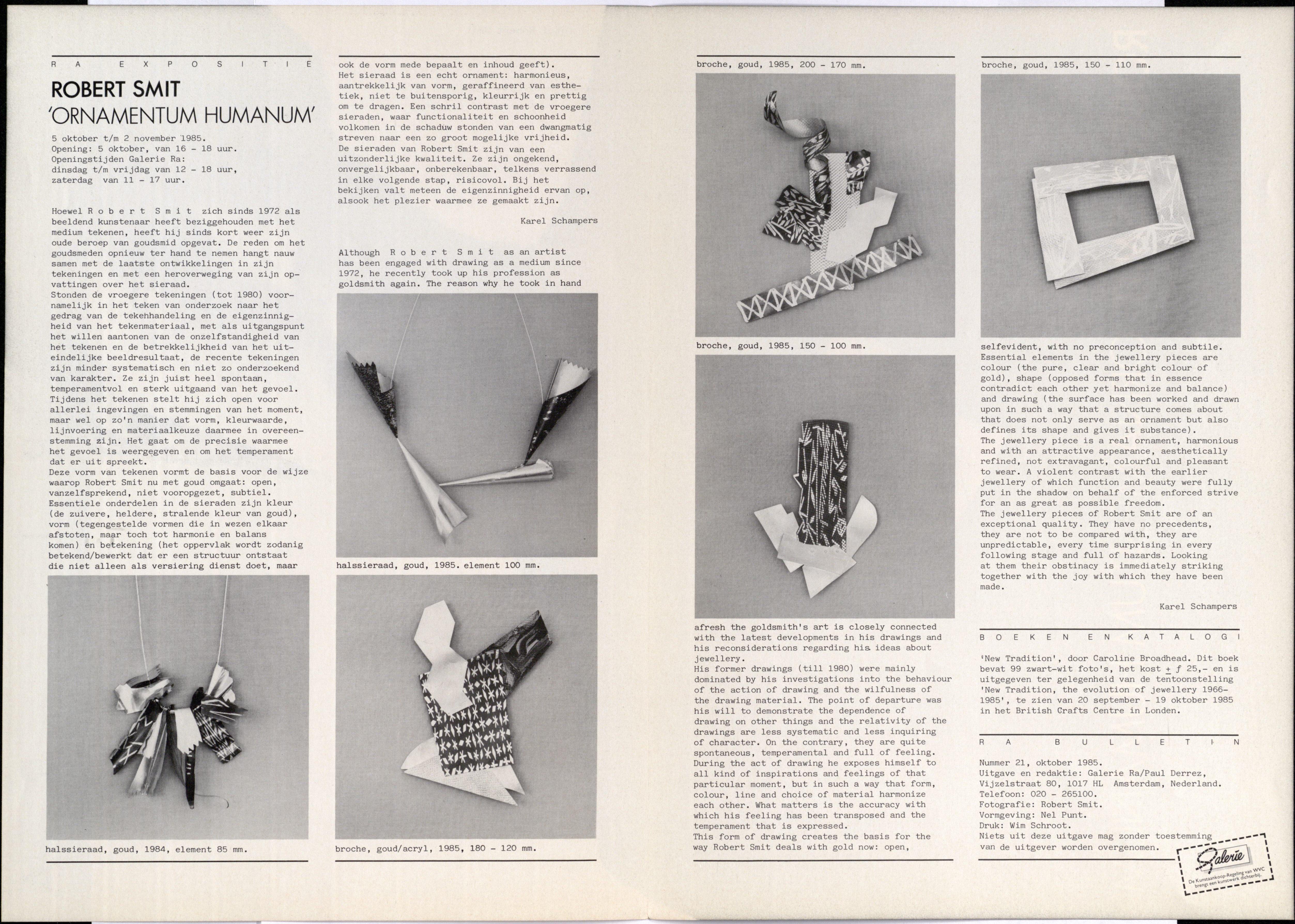 Ra Bulletin 21, oktober 1985, achterzijde met tekst en foto's van Robert Smit, halssieraden, broches, goud, acryl