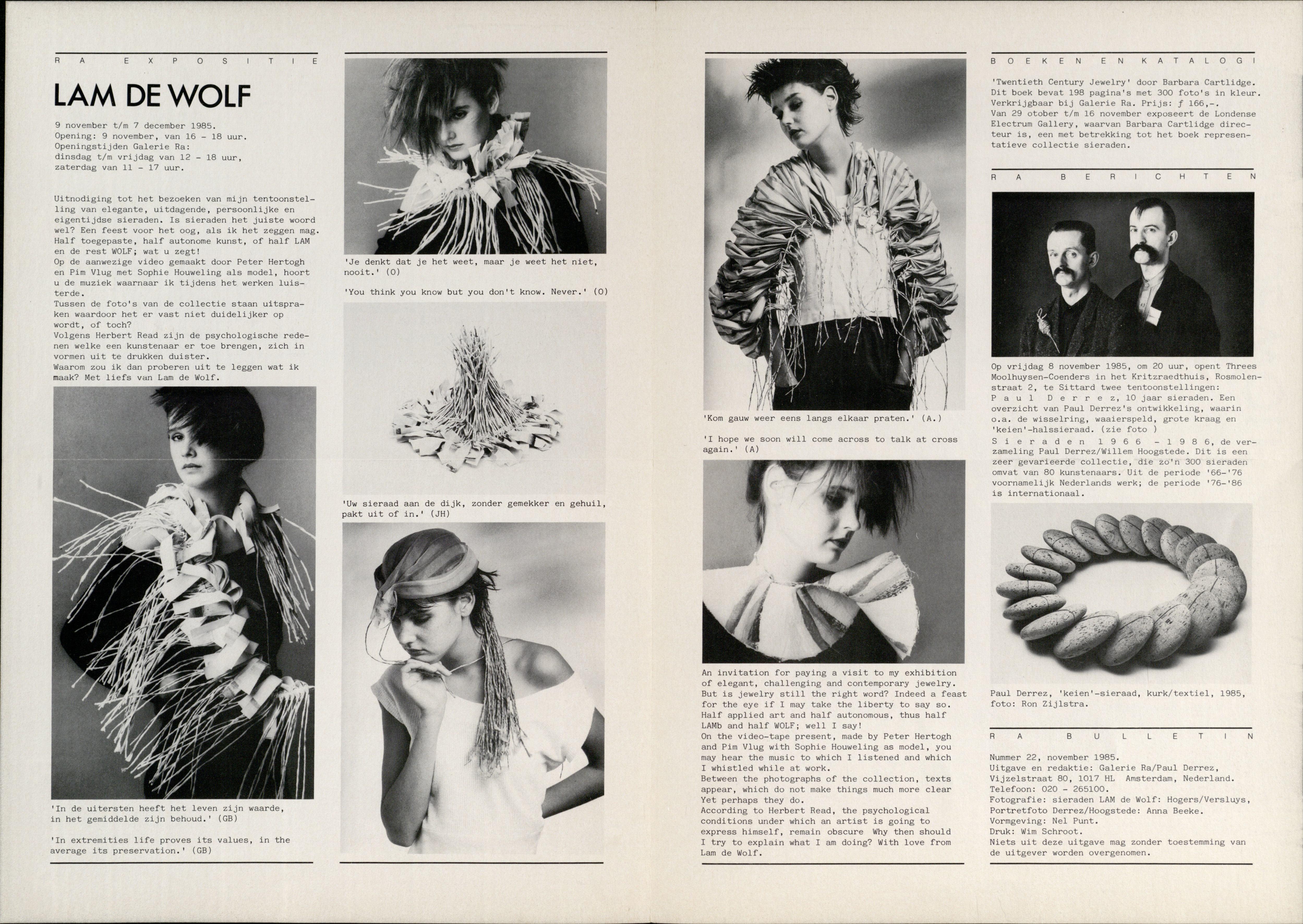Ra Bulletin 22, november 1985, achterzijde met tekst en foto's van Anna Beeke en Ron Zijlstra Hogers/Versluys, drukwerk, papier, textiel, Paul Derrez, kurk, Threes Moolhuysen-Coenders