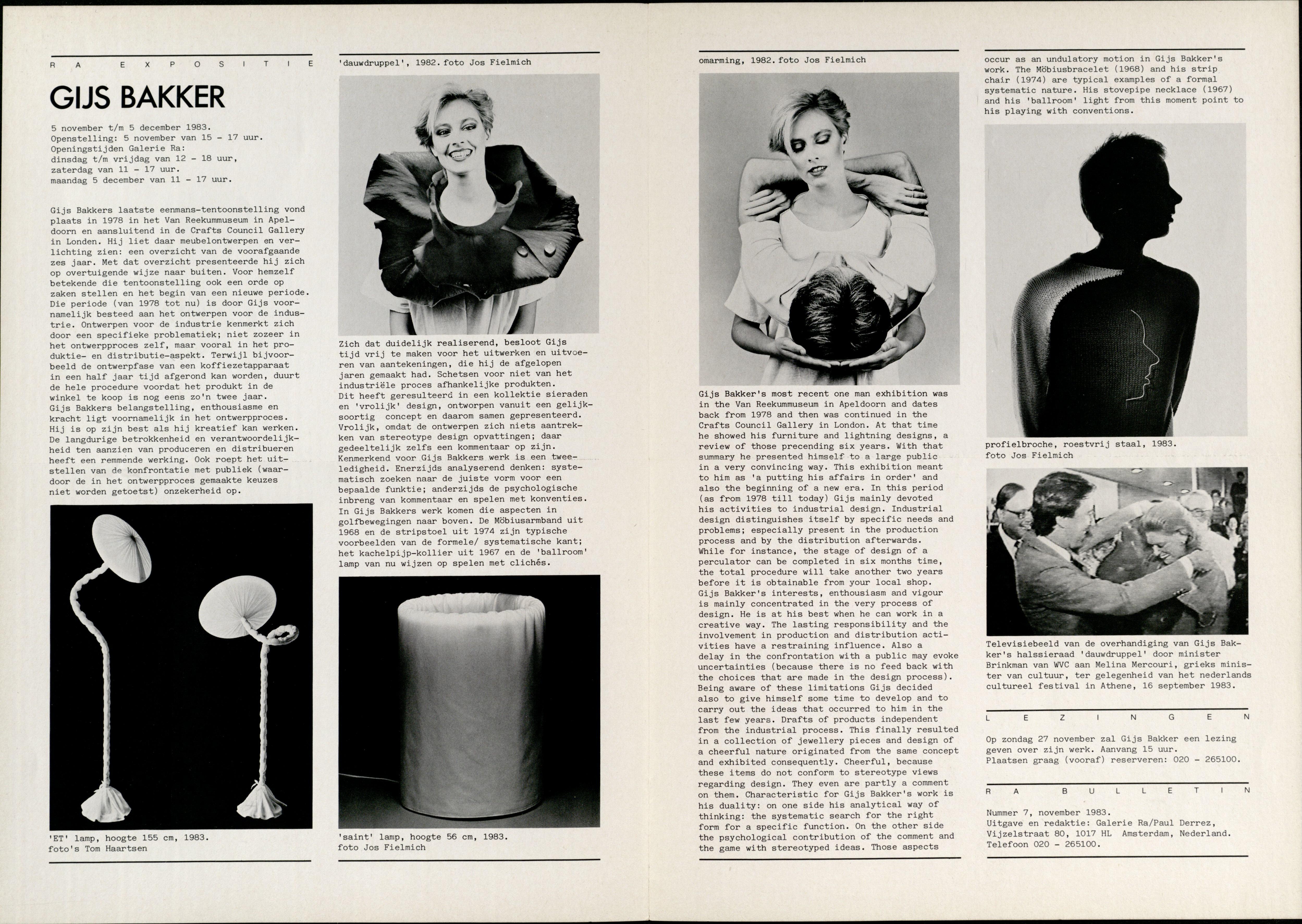 Ra Bulletin 7, november 1983, achterzijde met tekst en foto's van Jos Fielmich en Tom Haartsen, drukwerk, papier, halssieraden, broche