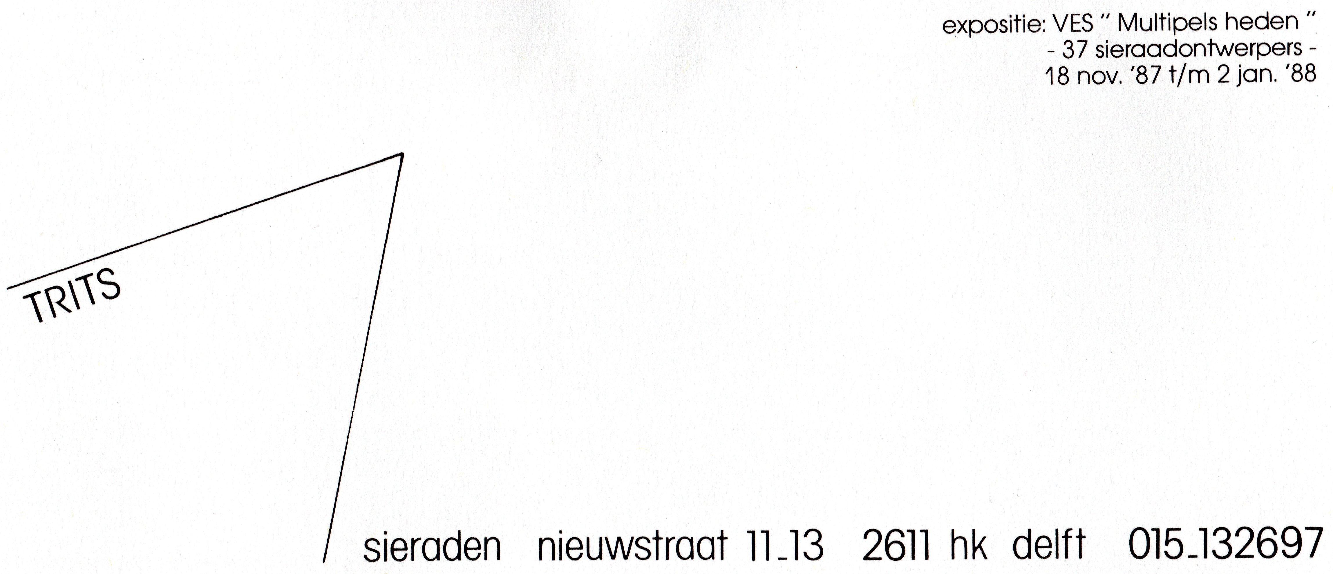 Trits Sieraden, Multiples Heden, 1987, drukwerk, papier