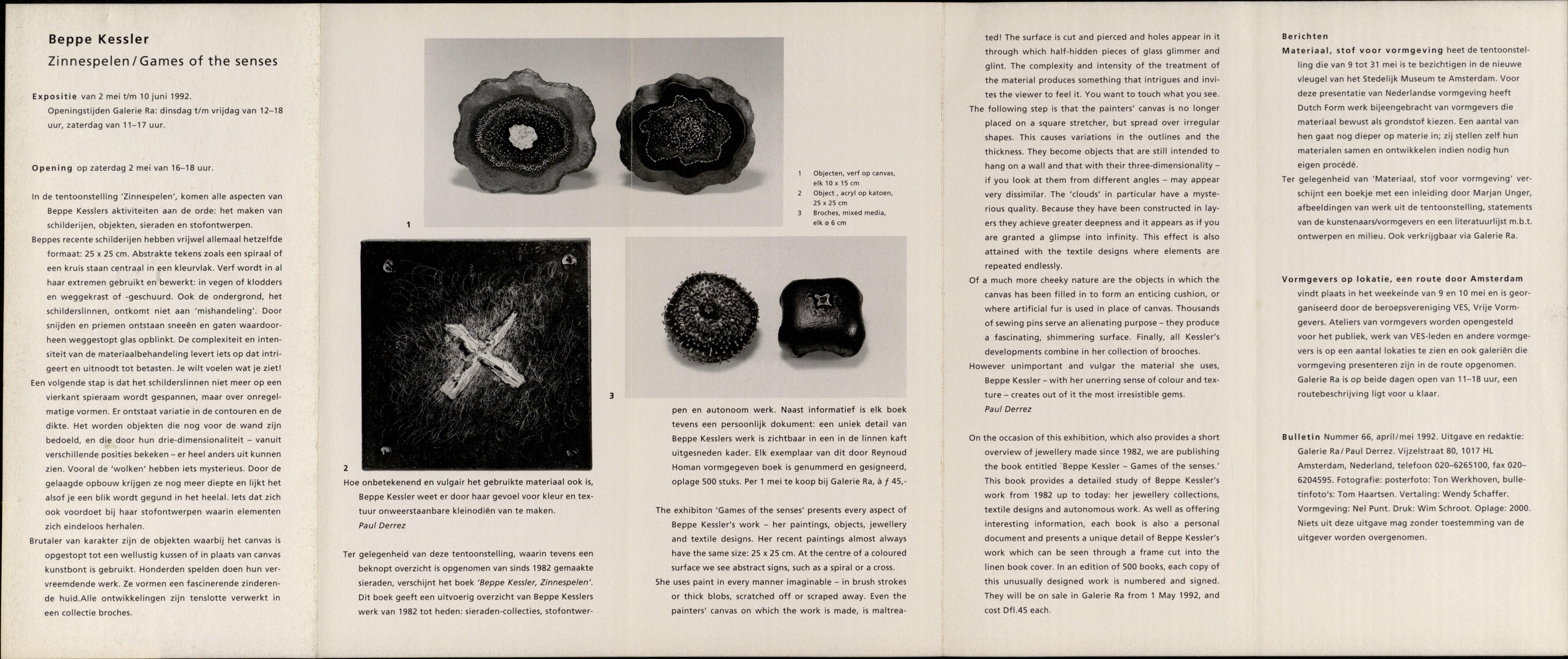 Ra Bulletin 66, april/mei 1992, achterzijde met tekst en foto's van Tom Haartsen, drukwerk, papier, Beppe Kessler, objecten, broches, canvas, acryl, katoen, metaal