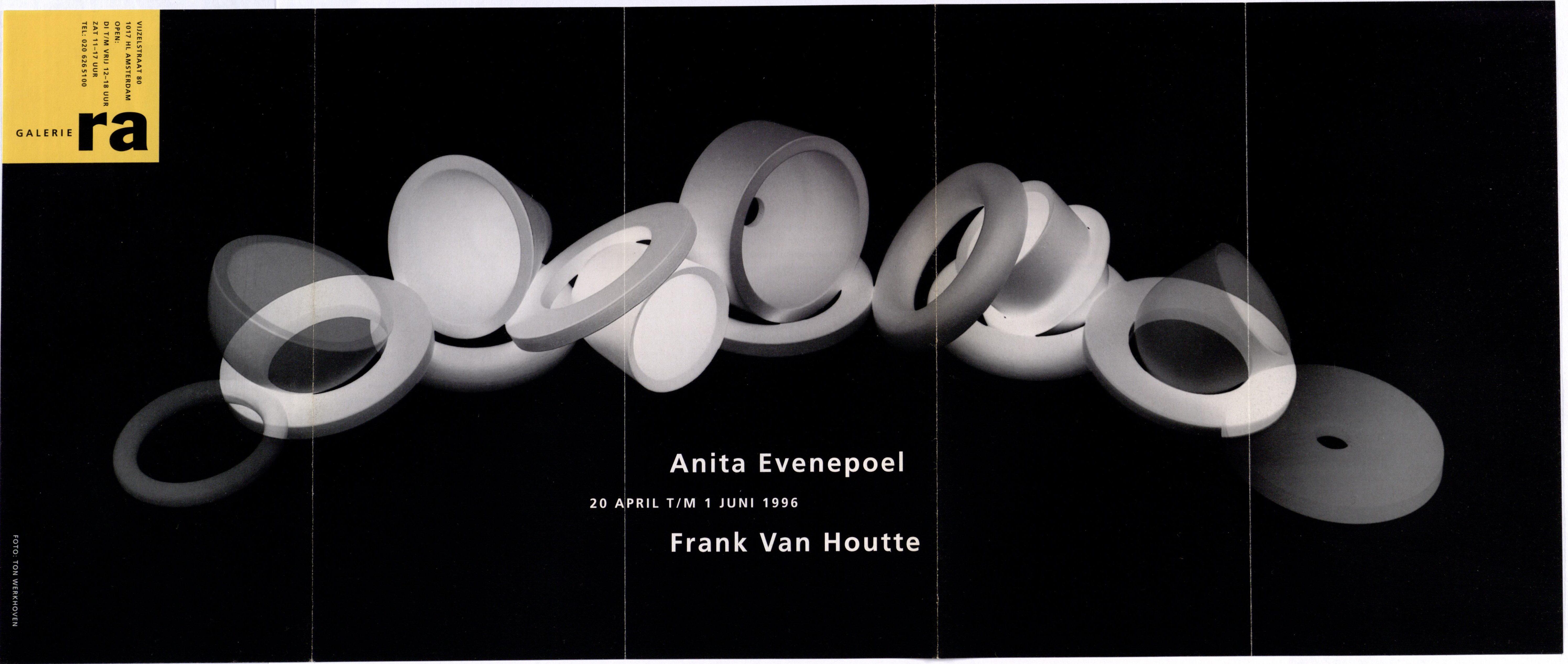 Ra Bulletin 96, april/mei 1996, voorzijde met foto van Ton Werkhoven met keramiek van Frank Van Houtte, drukwerk, papier