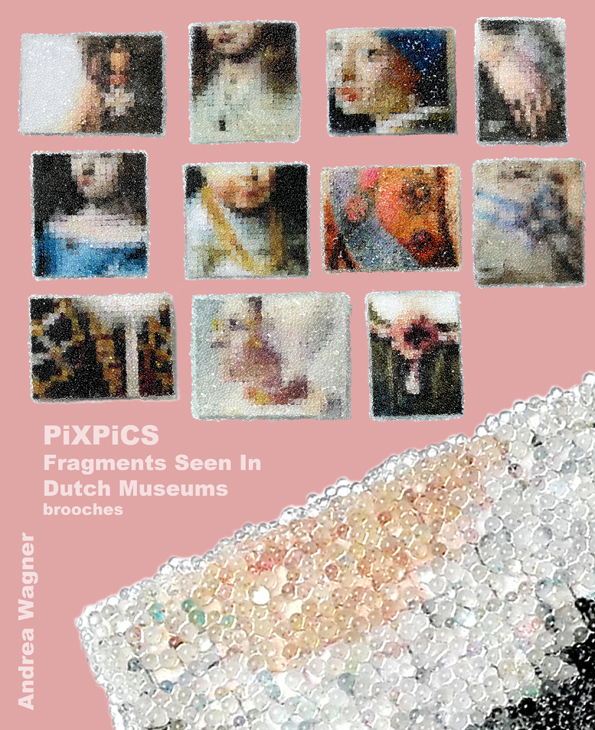 Andrea Wagner, PiXPiCS, broches, kunststof, papier
