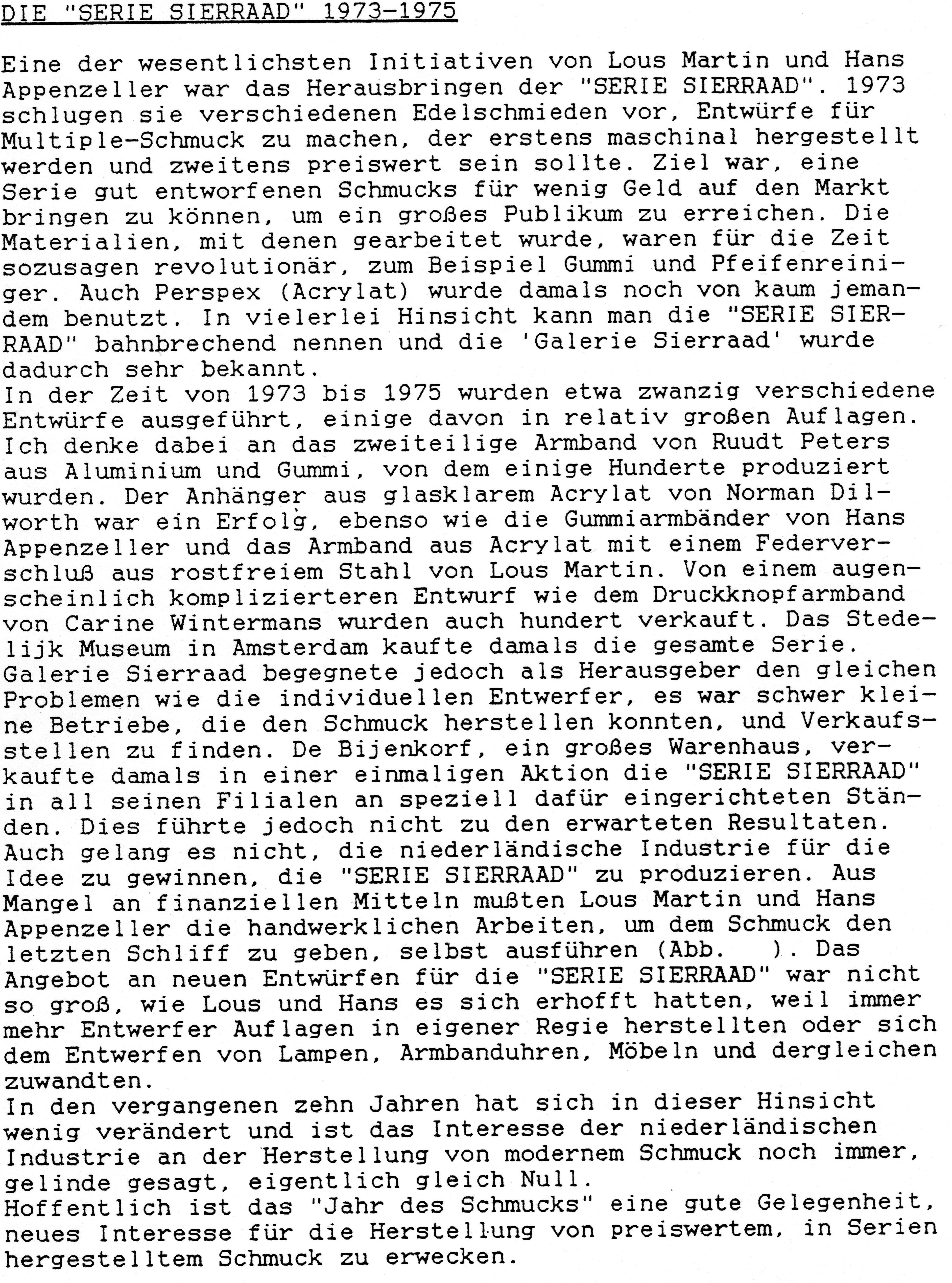 Duitse tekst over Serie sieraad, typoscript
