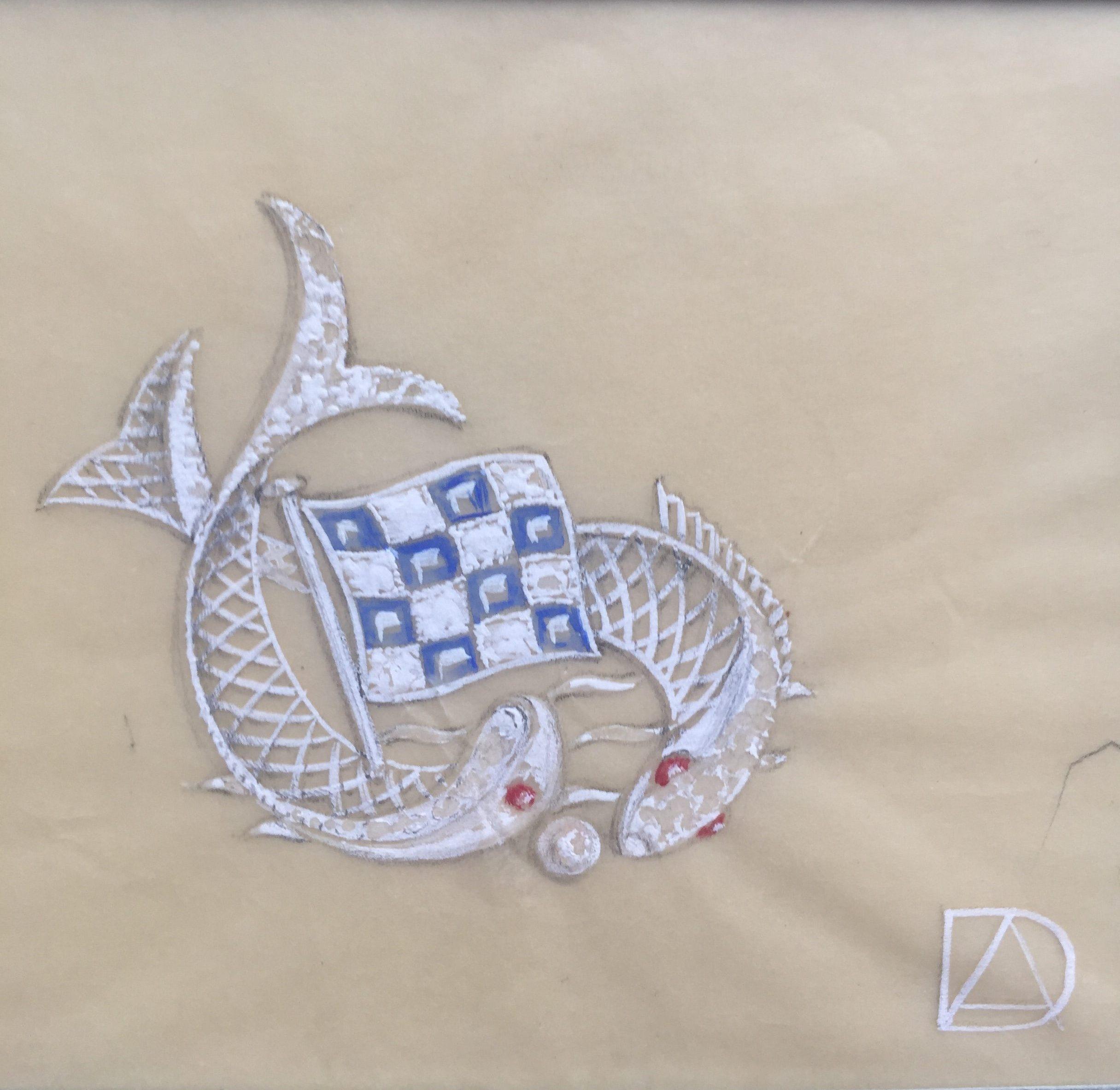 Archibald Dumbar, ontwerptekening broche, in of voor 1956. Particuliere verzameling, papier, verf