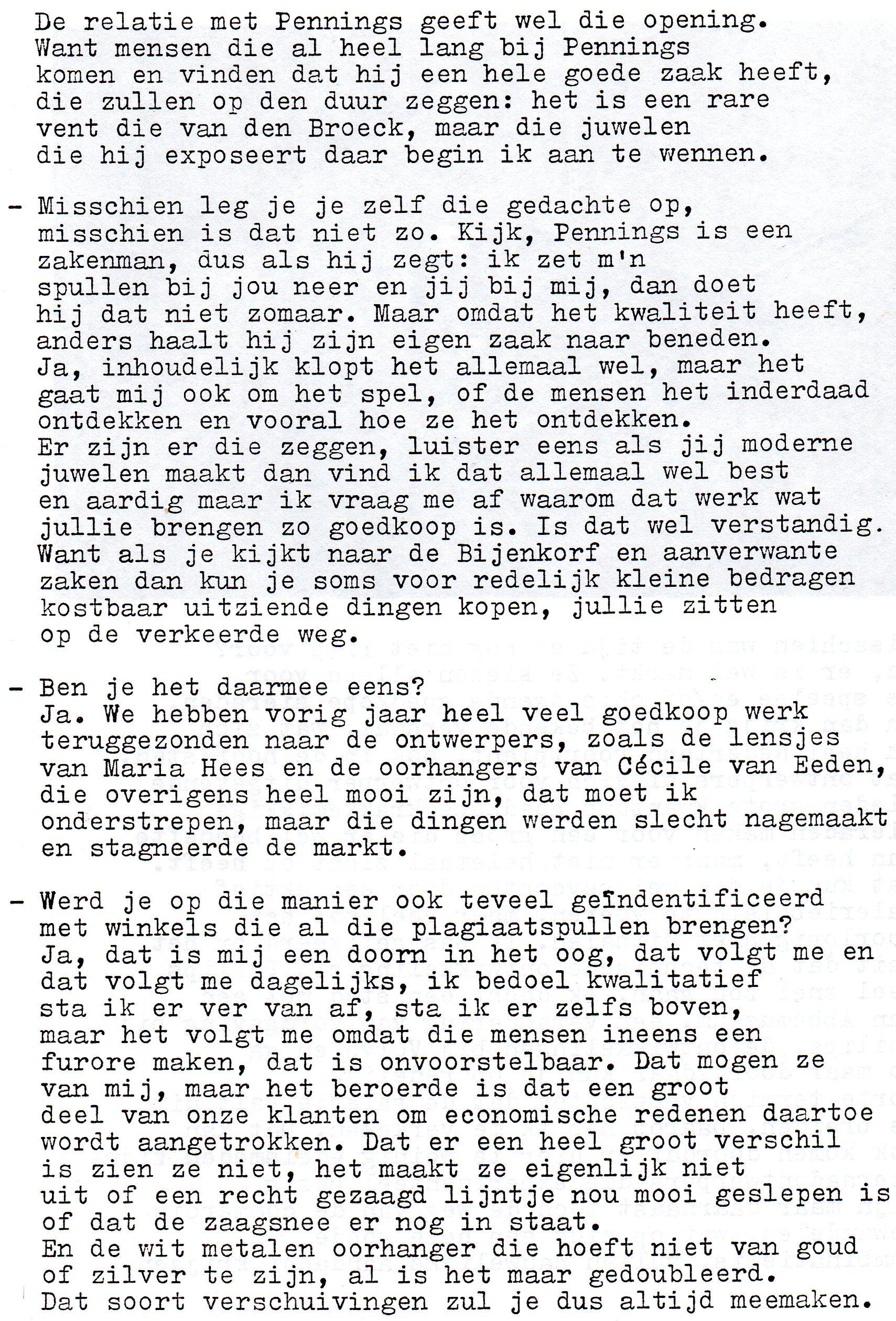 Clemens van den Broeck in het VES bulletin, 8, papier, typoscript
