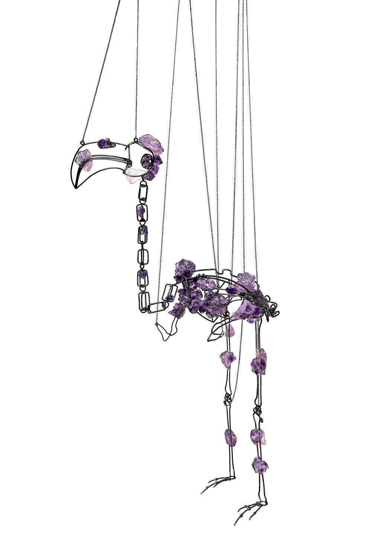 Koen Jacobs, Flamingo, marionet, 2018, zilver, amethist
