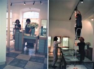Inrichting tentoonstelling in Artefacto 3, juni 1994