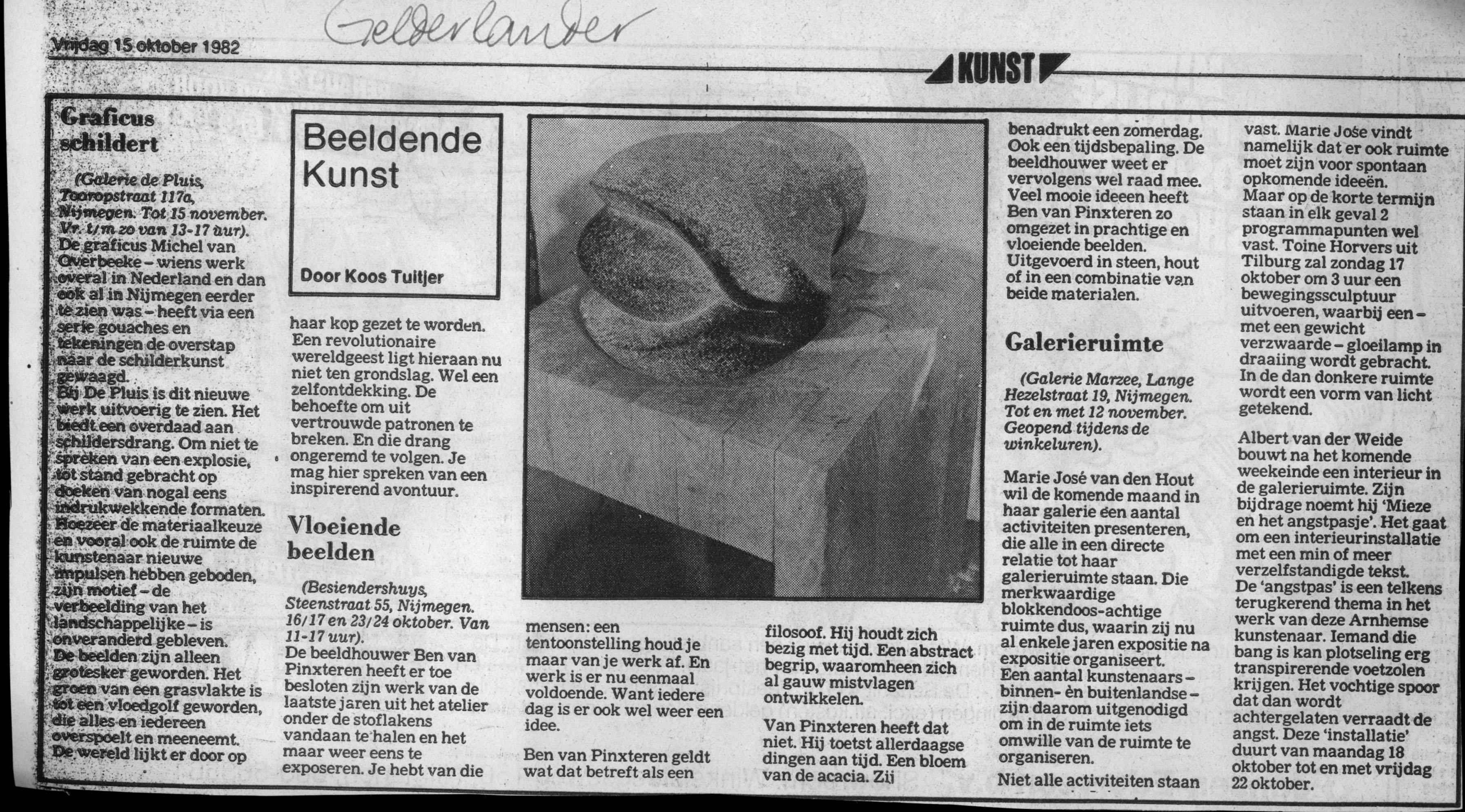 Beeldende Kunst, De Gelderlander, 15 oktober 1982, Galerie Marzee, drukwerk, krant, papier