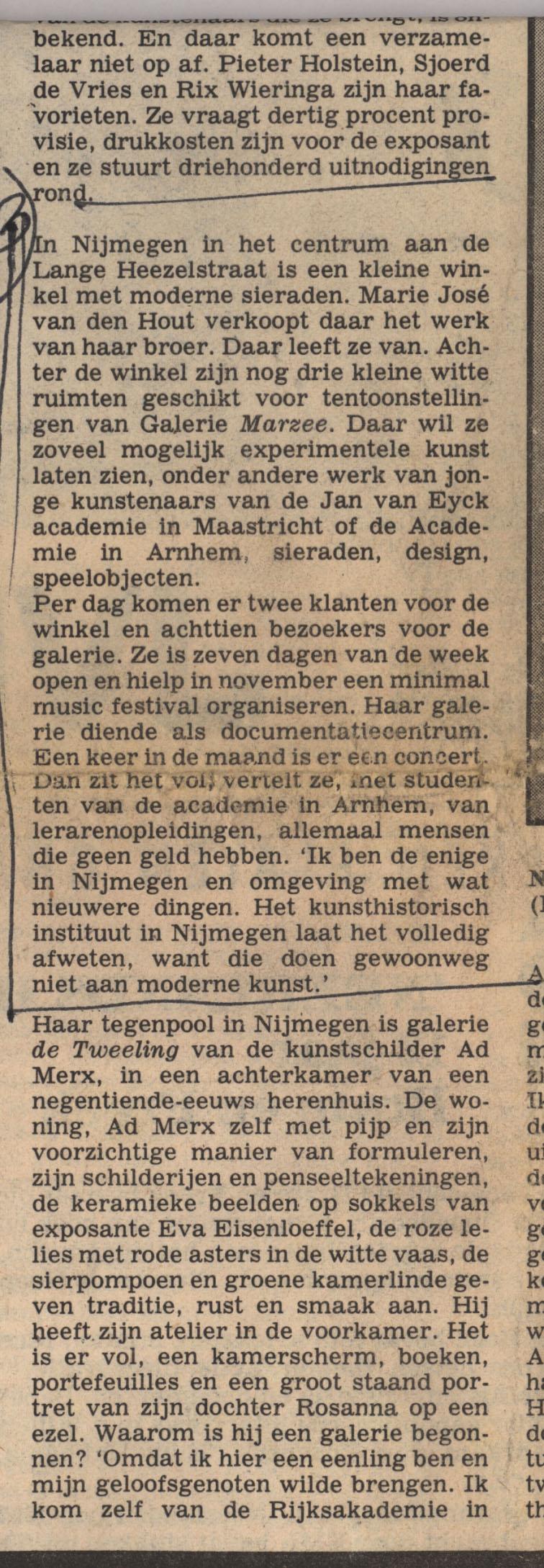 Krantenknipsel Galerie Marzee, Vrij Nederland, 1982, papier, drukwerk