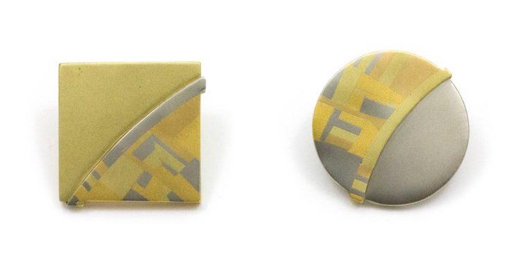 Rena Koopman, oorsieraden, metalen, groen, geel en wit goud
