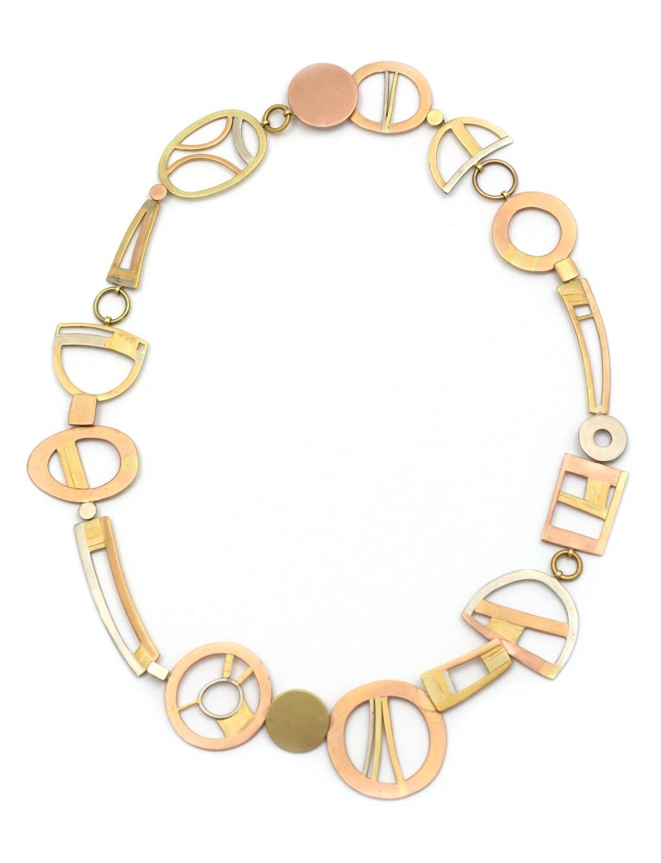 Rena Koopman, halssieraad, wit, geel en roze goud