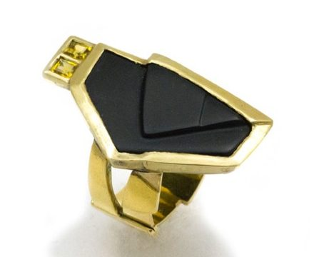 Rena Koopman, Yellow Stones, ring, goud, door Dieter Lorenz geslepen onyx, gele saffier