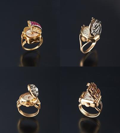 Ringen, Frankrijk en Verenigd Koninkrijk, 1920-1930. Collectie World Jewellery Museum, uurwerk, diamant, robijn, parel, granaat